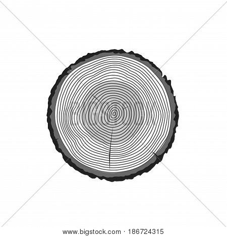 Tree log rings vector icon, tree wooden cross section black texture isolated, wood timber cut on white background
