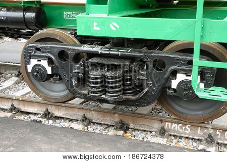 MOSCOW, AUG, 20, 2007: Close up shot of black color Russian new freight car bogie 25 tons per axle with adapter instead axle box for Russian railways roads. Axle load. Rail way freight car bogie