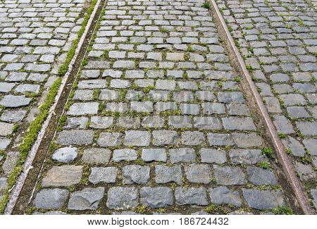 Close-up of Rails. Closed Rail System. Old Tram Tracks. Train Rails on Cobblestones