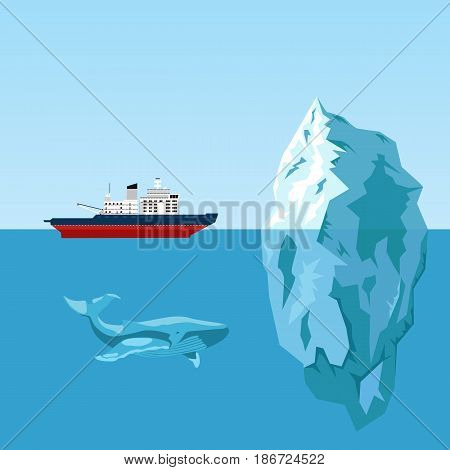 Diesel icebreaker ship, iceberg and whale. Flat style illustration with copyspace for text