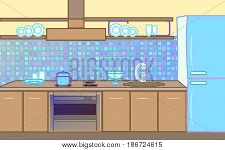 Kitchen set gas stove refrigerator plates grafic