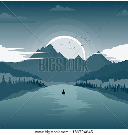 Beautiful landscape with mountain lake and a fishing boat at dawn
