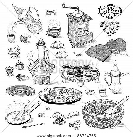 Vector sketch set drawing Arabic cup and coffeepot, vintage coffee grinder, Oriental sweets, roasted coffee beans. Illustration black and white items of the Ethiopian coffee ceremony. Engraving style
