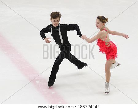 ST. PETERSBURG, RUSSIA - APRIL 19, 2017: Figure skating competitions on prix of St. Petersburg Federation of Figure Skating. 150 athletes from 6 regions of Russia take part in the competitions