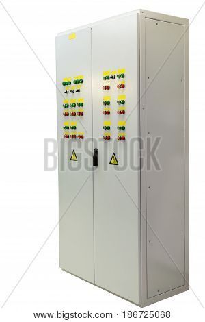 Electrical panel or Cabinet. Outdoor performance. Two-door power panel pump control. Located on the door control devices and alarm and light indication.
