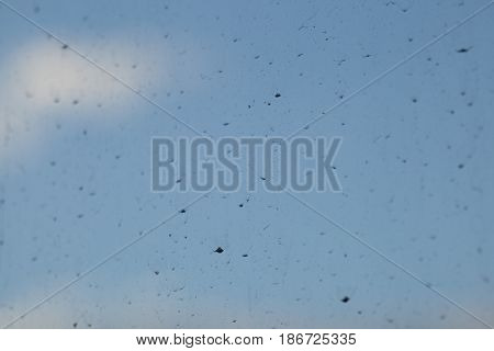 Glass building dust dust slough on the sheet glass Background sky Select focus