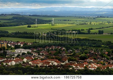 NEAR DORTMUND, GERMANY - JUNE 22, 2013: Aerial view to rural landscape of North Rhine-Westphalia. It  is the most populous state of Germany, and the fourth largest by area