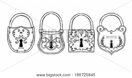 Hand Sketched Vector Illustrations - Collections Of Vintage Locks. Design Elements With Decorative S
