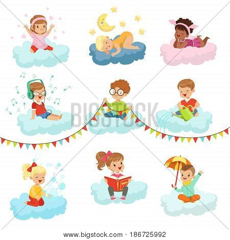 Lovely little boys and girls sitting on a clouds playing toys, listening music, reading book, sleeping, dreaming colorful characters vector Illustrations isolated on a white background