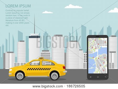 Urban cityscape with a taxi cab, smartphone and taxi service application. Vector illustration in flat style