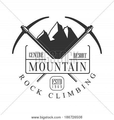 Mountain rock climbing centre resort logo. Mountain hiking, exploration label, climbing sport activity badge, outdoors expedition emblem vector illustration