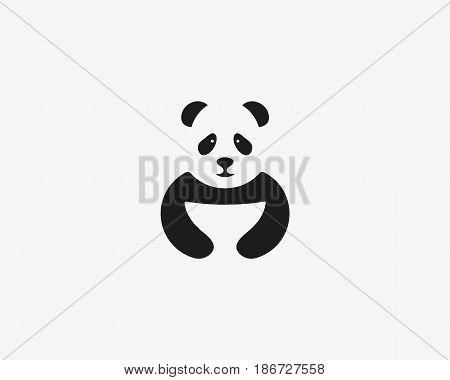 Panda logo symbol design. Asian food vector icon logotype. Wok negative space creative symbol.