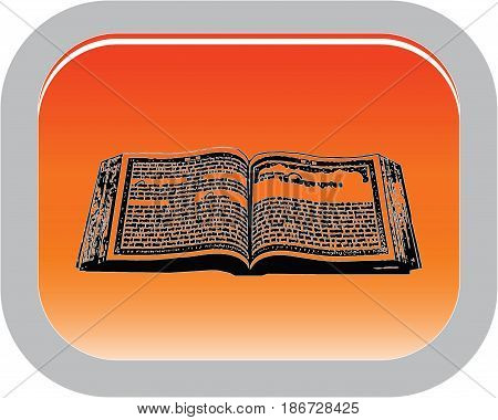 One of the main symbols of Sikhism - Holy book, button, vector