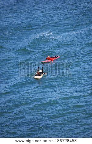 APRIL 23, 2017. SANTA CRUZ, CA.  CIRCA: Surfer enjoying the cool waters in Santa Cruz, Ca,