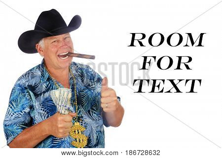 Man with Money. Isolated on white. Room for text. A man wins the lottery. Mr. Money Man. Man with Cash in hand.