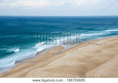 The coast of Atlantic ocean in Nazare Portugal