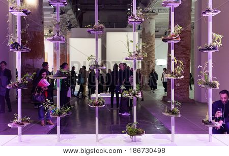 VENICE ITALY - MAY 10: Installation view of work by Michel Blazy in