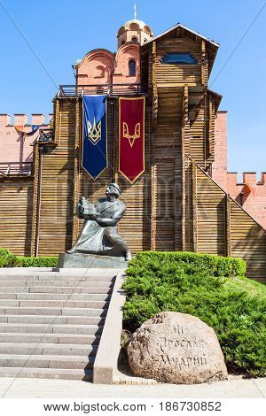 Statue Yaroslav The Wise Near Golden Gates Of Kiev