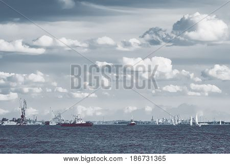 Tug Ships And Sailboats