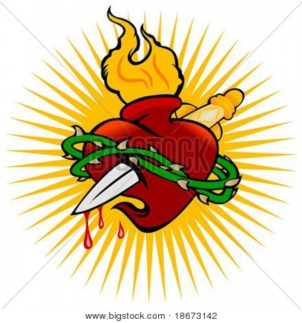 Fire Heart And Knife