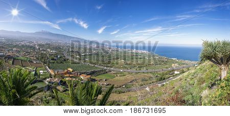 View from Mirador de Humboldt to the Orotava Valley with mountain Teide in Tenerife, Canary Islands, Spain
