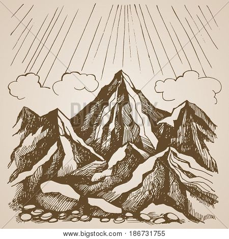 Mountains and rocks against the sky with clouds. Landscape l hand-drawn sketch. Vector illustration  in retro style.