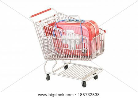 First aid kit in the shopping cart 3D rendering