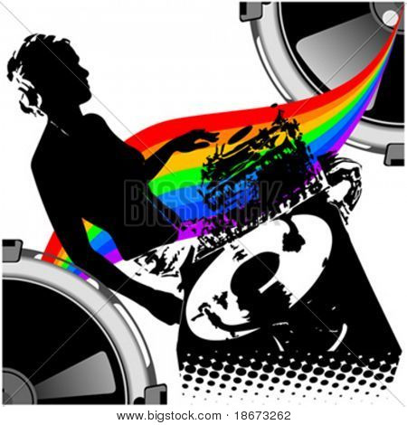 Girl DJ and Rainbow Music. Vector Illustration. No Meshes.