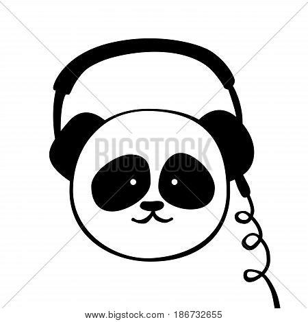 Panda, headphone. Vector cartoon illustration isolated on white. Funny, cute animal. Scandinavian design for Interior children room, print card, pillow, t-shirt.