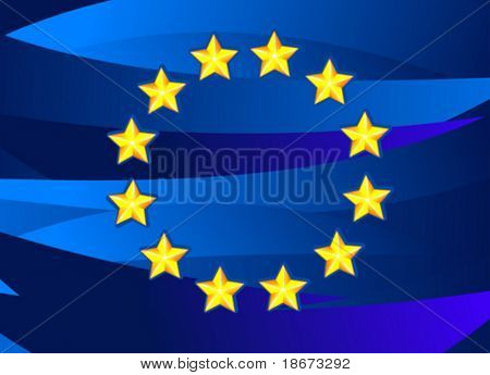 Flag of European Union. Vector Illustration. No Meshes.