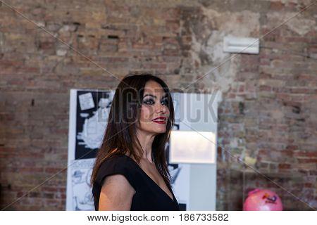 VENICE ITALY - MAY 10: Italian actress Maria Grazia Cucinotta at Malta pavillon part of The 57th International Art Exhibition of La Biennale di Venezia on May 10 2017