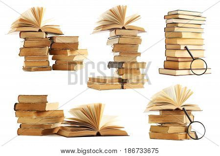 Collage Of Old Books On A White Background
