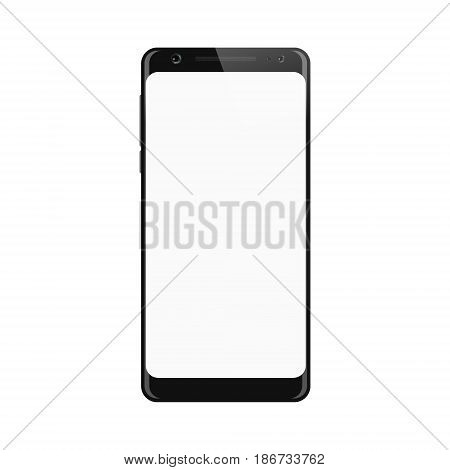 Black smartphone. Smart phone isolated on white background. Mobile phone with blank screen. Vector illustration.
