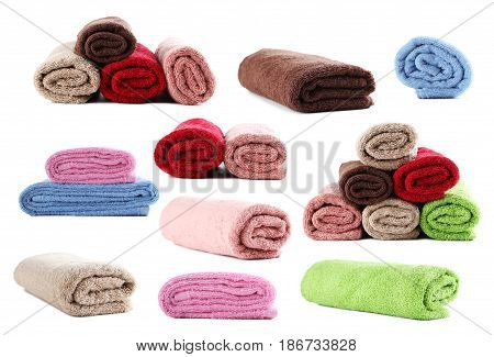 Collage of towels on white background, close up