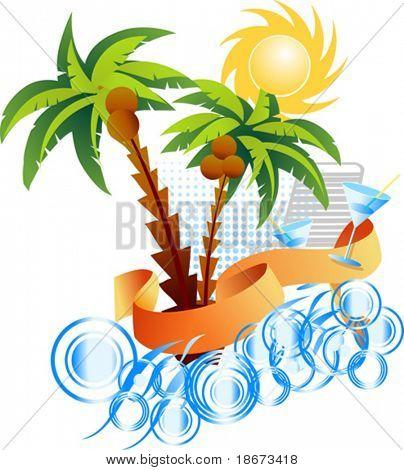 Palms. Sun. Sea. Background.