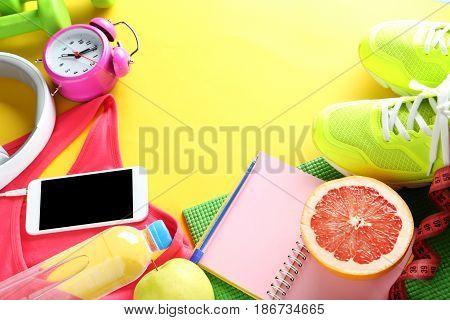 Fitness Equipment On Yellow Background