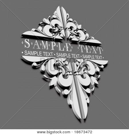 3D Decorative Vintage Ornate Banner.