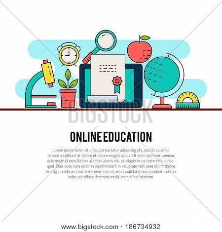 Vector composition with school elements. Modern template illustration. Banner or web page template with with place for text