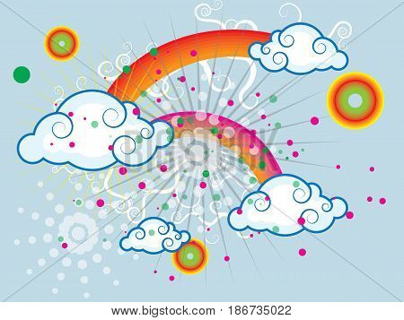 Summer iridescent sky with rain clouds and other abstract elements