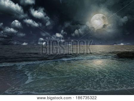 Moonrise over San Miguel Tajao, Canary Islands,