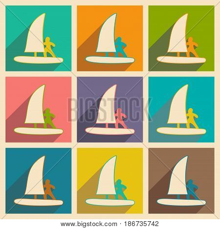 Flat with shadow concept and mobile application windsurfing