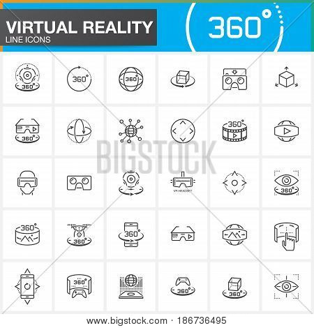 Virtual reality line icons set. Innovation technologies AR glasses Head-mounted display VR gaming device. Modern flat line design vector collection. Outline logo illustration concept