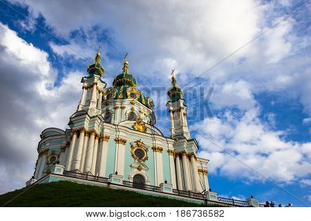 Saint Andrew Orthodox Church In Kyiv, Ukraine.