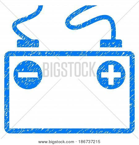 Grunge Accumulator Battery icon with grunge design and dust texture. Unclean vector blue pictogram for rubber seal stamp imitations and watermarks. Draft sign symbol.