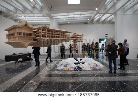 VENICE ITALY - MAY 10: Japan pavilion presents Takahiro Iwasaki's solo exhibition at the 57th Venice art Biennale on May 10 2017