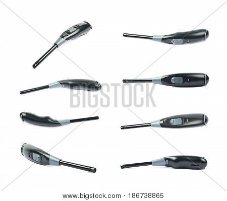 Utility long-neck black plastic lighter isolated over the white background, set of eight different foreshortenings