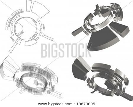 3D abstract futuristic object