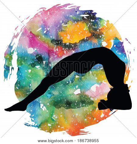 Women silhouette on galaxy astral background.Upward Facing Two-Foot Staff Yoga Pose. Dwi Pada Viparita Dandasana Vector illustration.