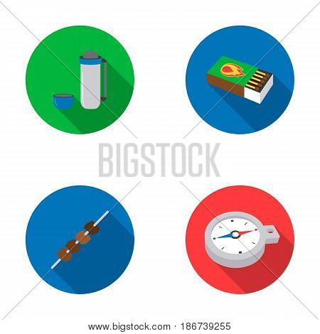 Thermos, matches, compass, shish kebab.Camping set collection icons in flat style vector symbol stock illustration .