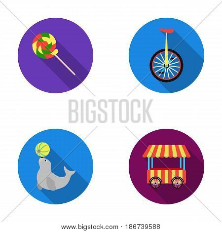 Lollipop, trained seal, snack on wheels, monocycle.Circus set collection icons in flat style vector symbol stock illustration .